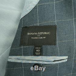 Banana Republic Tailored Slim Fit Blue Windowpane Suit Size 40R