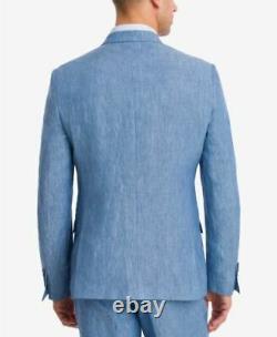 Bar III Men's Slim Fit Linen Blue Chambray VESTED Suit 42L / 36 x 32