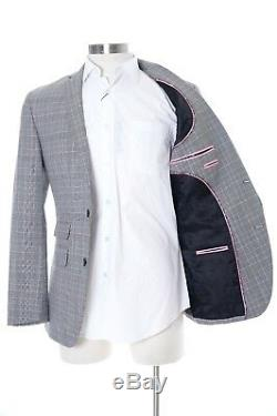 Bar III Slim Fit Gray Glen Plaid Wool Blend Two Button Pre-hemmed Suit 46R 38x32