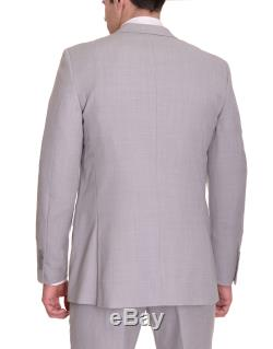 Bar III Slim Fit Light Gray Neat Textured Two Button Wool Suit