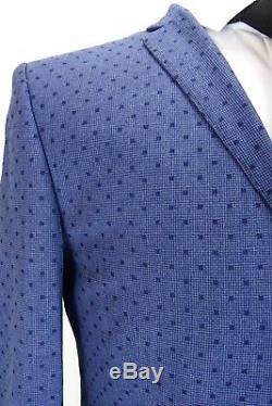 Ben Sherman Camden Blue Polka Dot Super Slim Fit Mod Suit 38 40 42 44 VB18