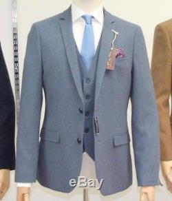Blue, Slim Fit, Three Piece Suit, 42, BNWT From Leamington Spa Shop. No Reserve