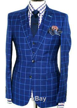 Bnwot Mens Suitsupply Italian Blue Box Check 3 Piece Slim Fit Suit 40r W34 X L31