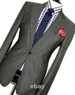 Bnwt Gorgeous Mens Emporio Armani Charcoal Birdseye Slim Fit Suit 44r W36 X L32