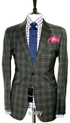 Bnwt Gorgeous Mens Emporio Armani Charcoal Box Check Slim Fit Suit 42r W36 X L32