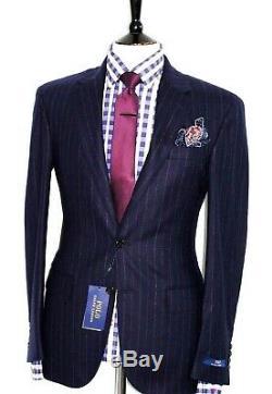 Bnwt Gorgeous Mens Ralph Lauren Blue Chalkstripe Classic Slim Fit Suit 42l W36