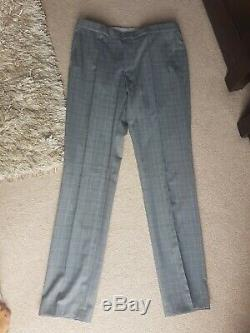 Bnwt Hugo Boss Size 46 Slim Fit Grey Check Virgin Wool 2 Piece Suitrrp £398