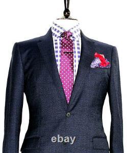 Bnwt Luxury Mens Burberry London Italian Textured Navy Slim Fit Suit 38r W32