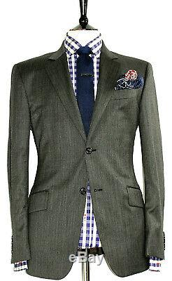 Bnwt Luxury Mens Burberry London Textured Charcoal Grey Slim Fit Suit 40r W34