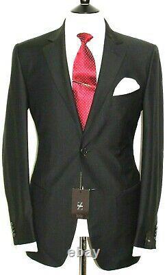 Bnwt Luxury Mens Ermenegildo Zegna Black Micro Check Slim Fit Suit 40r W34