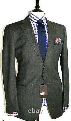 Bnwt Luxury Mens Ermenegildo Zegna Charcoal Grey Birdseye Slim Fit Suit 42r W36