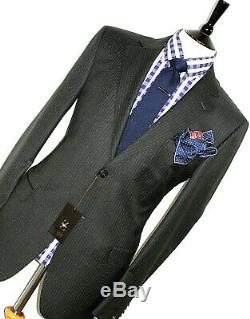 Bnwt Luxury Mens Ermenegildo Zegna Charcoal Grey Stripey Slim Fit Suit 42r W36