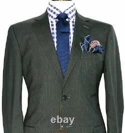 Bnwt Luxury Mens Ermenegildo Zegna Pinstripe Charcoal Grey Suit42r W36