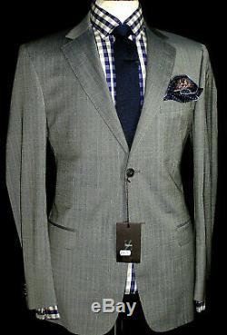 Bnwt Luxury Mens Ermenegildo Zegna Sharkskin Stripey Grey Slim Fit Suit 44r W38