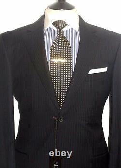 Bnwt Luxury Mens Ermenegildo Zegna Soft Tailor-made Stripy Black Suit42r W36
