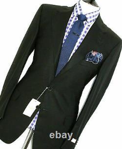 Bnwt Luxury Mens Ermenegildo Zegna Soft Tailor-made Textured Black Suit42r W36