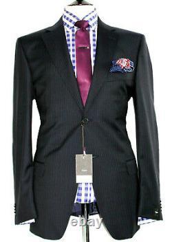 Bnwt Luxury Mens Ermenegildo Zegna Stripey Black Classic Slim Fit Suit 44r W38