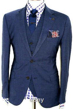 Bnwt Luxury Mens Gibson London Navy Blue 3 Piece Slim Fit Suit 42r W34 X L31