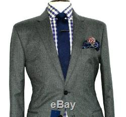 Bnwt Luxury Mens Hackett London Charcoal Grey Tailor- Made Slim Fit Suit 44r W38