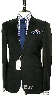 Bnwt Luxury Mens Hardy Amies Savile Row Chic Plain Black Slim Fit Suit 38r W32