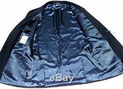 Bnwt Luxury Mens Hardy Amies Savile Row London Solid Navy Slim Fit Suit 36r W32