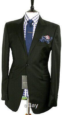 Bnwt Luxury Mens Holland Esquire London Plain Black Slim Fit Suit 40l W34 X L34