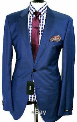 Bnwt Luxury Mens Hugo Boss Petrol Blue Slim Fit 2 Piece Suit 42l W36 X L35