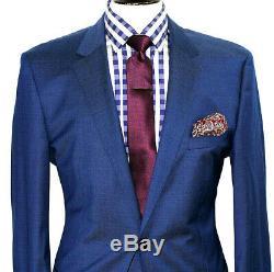 Bnwt Luxury Mens Hugo Boss Petrol Blue Slim Fit 2 Piece Suit 42r W36 X L32