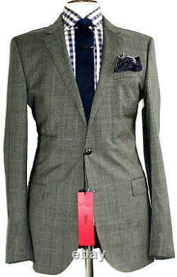 Bnwt Luxury Mens Hugo Boss Prince Of Wales Check Slim Fit Suit 40l W34 X L34