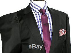Bnwt Luxury Mens Hugo Boss Super 120 Black Slim Fit 2 Piece Suit 44r W38 X L33