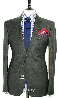 Bnwt Luxury Mens Pal Zileri Premium Charcoal Textured Slim Fit Suit 42r W36