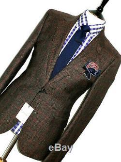 Bnwt Luxury Mens Paul Smith London Brown Box Check Tweed Slim Fit Suit 42r W36