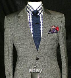 Bnwt Luxury Mens Paul Smith London Grey Micro Check Slim Fit Suit 40r W34 X L32