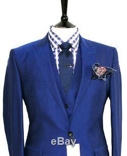 Bnwt Luxury Mens Reiss London Royal Petrol Blue 3 Piece Slim Fit Suit 38r W32