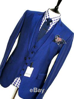 Bnwt Luxury Mens Reiss London Royal Petrol Blue 3 Piece Slim Fit Suit 40r W34