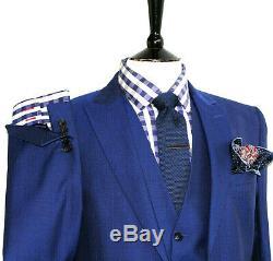 Bnwt Luxury Mens Reiss London Royal Petrol Blue 3 Piece Slim Fit Suit 42r W36