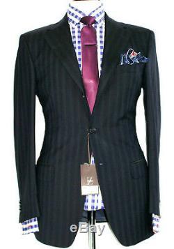 Bnwt Mens Ermenegildo Zegna Black Chalkstripe Classic Slim Fit Suit 38r W32