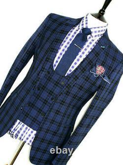 Bnwt Mens Gieves & Hawkes London Savile Blue 3 Piece Slim Fit Suit 40r W34 X L31