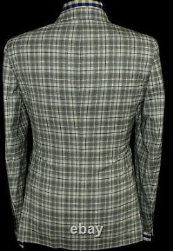 Bnwt Mens Hardy Amies Savile Row London Box Check Slim Fit Suit 38r W32 X L32