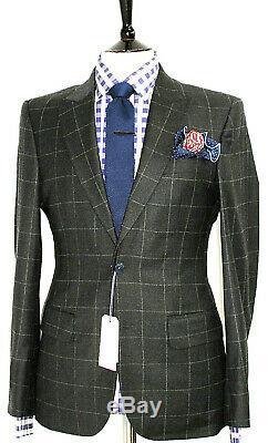 Bnwt Mens Hardy Amies Savile Row London Charcoal Box Check Slim Fit Suit 38r W32