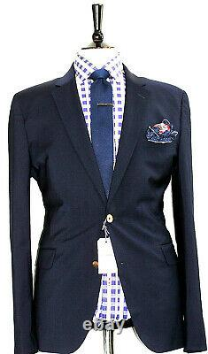 Bnwt Mens Hardy Amies Savile Row London Solid Navy Slim Fit Suit 38r W32