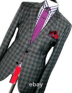 Bnwt Mens Hugo Boss Italian Tartan Check Slim Fit 2 Piece Suit 46r W40 X L33
