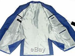 Bnwt Mens Luxury Hugo Boss Textured Blue 3 Piece Slim Fit Suit 38r W32 X L32