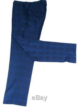 Bnwt Mens Paul Smith London Blue Box Check 3 Piece Slim Fit Suit 40r W34 X L31