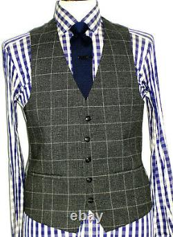 Bnwt Mens Paul Smith London Grey Box Check 3 Piece Slim Fit Suit 40r W34 X L31
