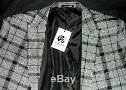 Bnwt Mens Paul Smith London Grey Box Check 3 Piece Slim Fit Suit 42r W36 X L31