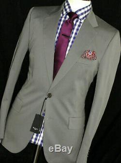 Bnwt Mens Paul Smith London Khaki Grey Formal/ Wedding Slim Fit Suit 40r W34