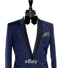 Bnwt Mens Paul Smith London Ps Tuxedo Dinner Navy Textured Slim Fit Suit 40r W34