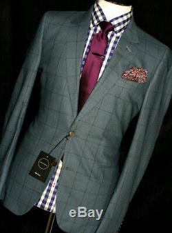 Bnwt Mens Paul Smith Soho London Light Green Check Box Slim Fit Suit 40r W34