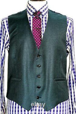 Bnwt Mens Paul Smith Soho London Neurave Green Slim Fit 3 Piece Suit 42r W36